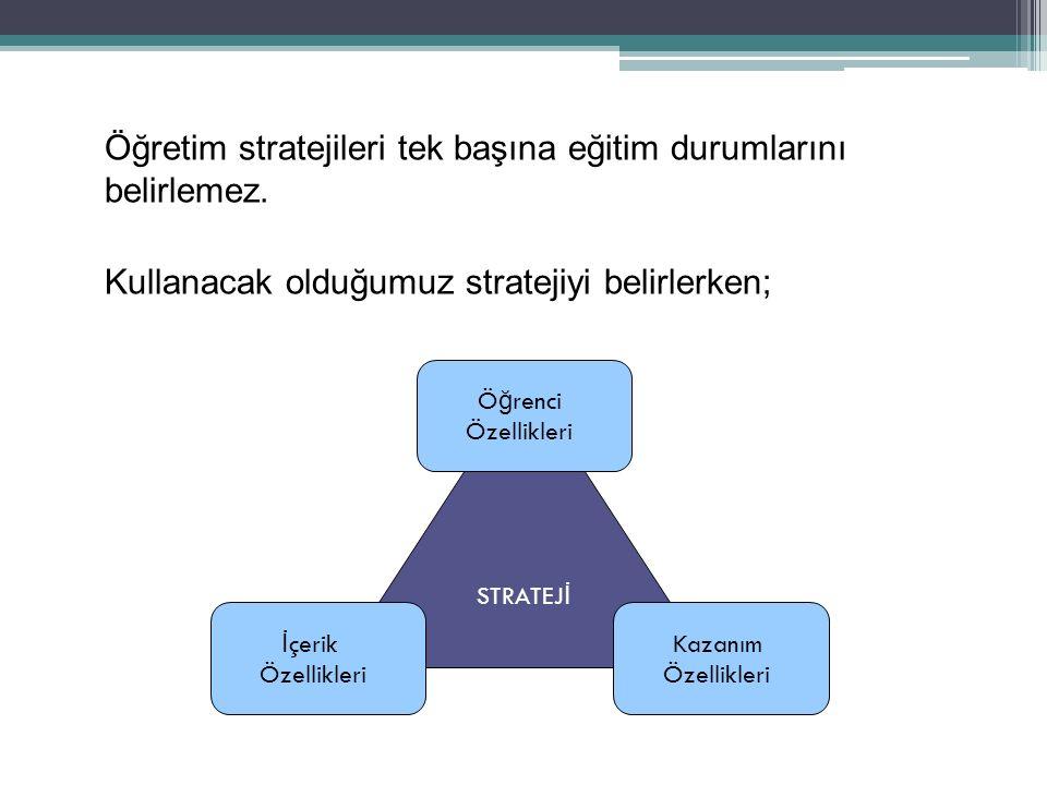 Öğretim stratejileri tek başına eğitim durumlarını belirlemez. Kullanacak olduğumuz stratejiyi belirlerken; STRATEJ İ Ö ğ renci Özellikleri Kazanım Öz