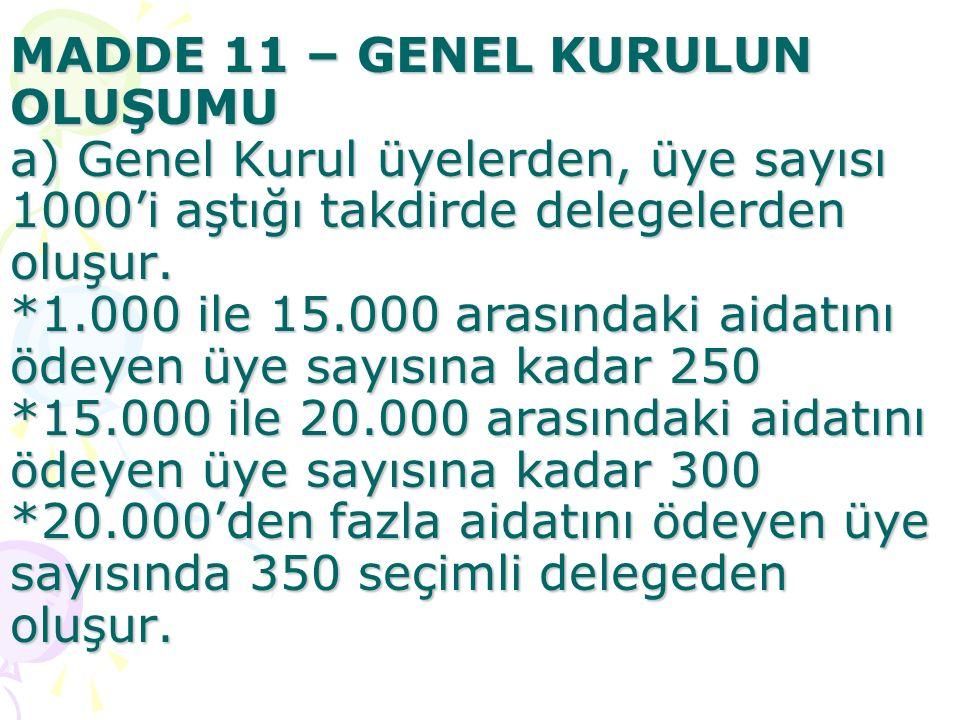 MADDE 11 – GENEL KURULUN OLUŞUMU a) Genel Kurul üyelerden, üye sayısı 1000'i aştığı takdirde delegelerden oluşur.