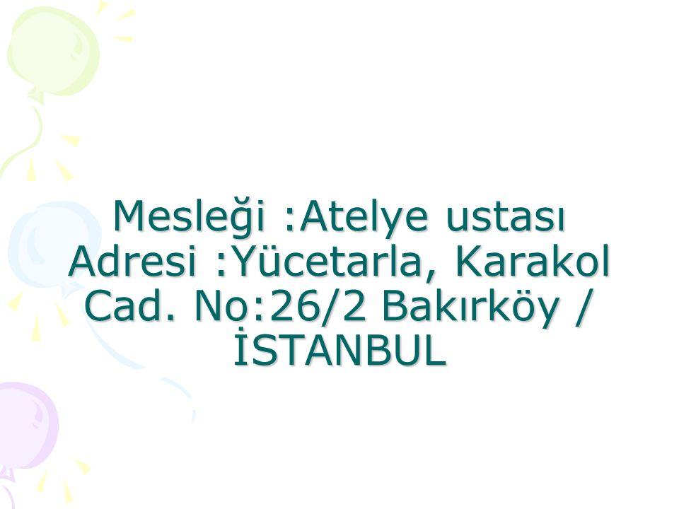 Mesleği :Atelye ustası Adresi :Yücetarla, Karakol Cad.