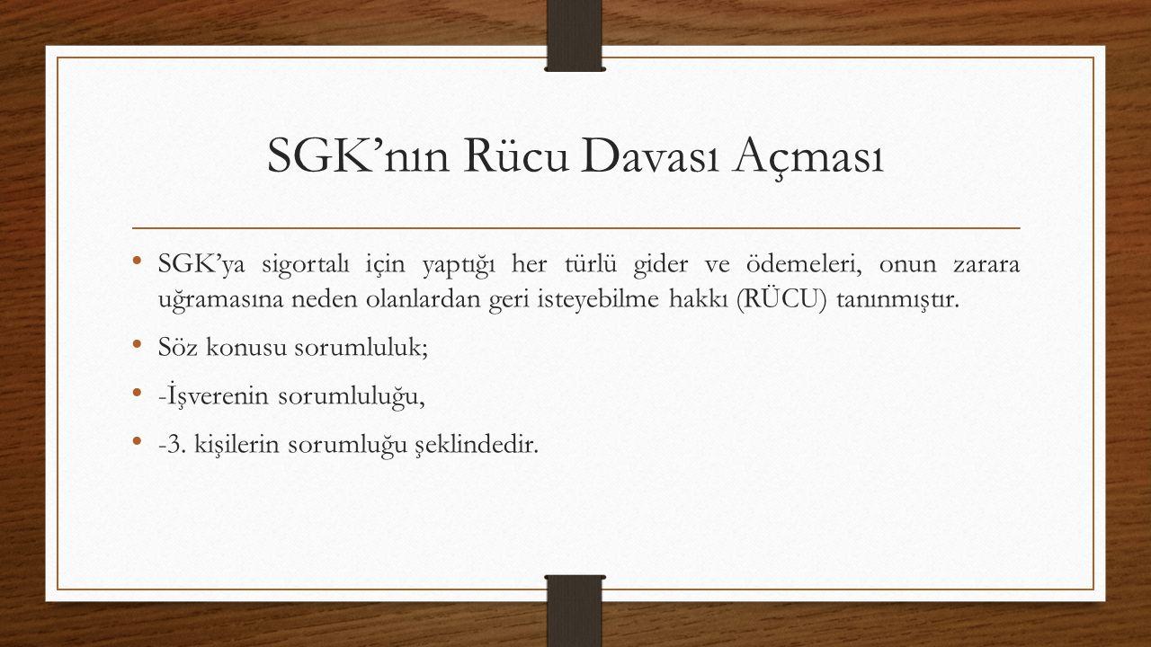 SGK'nın Rücu Davası Açması SGK'ya sigortalı için yaptığı her türlü gider ve ödemeleri, onun zarara uğramasına neden olanlardan geri isteyebilme hakkı (RÜCU) tanınmıştır.
