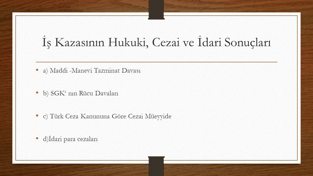 İş Kazasının Hukuki, Cezai ve İdari Sonuçları a) Maddi -Manevi Tazminat Davası b) SGK' nın Rücu Davaları c) Türk Ceza Kanununa Göre Cezai Müeyyide d)İdari para cezaları