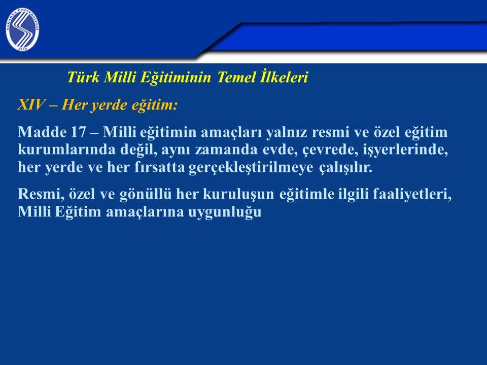 Türk Milli Eğitiminin Temel İlkeleri XIV – Her yerde eğitim: Madde 17 – Milli eğitimin amaçları yalnız resmi ve özel eğitim kurumlarında değil, aynı z