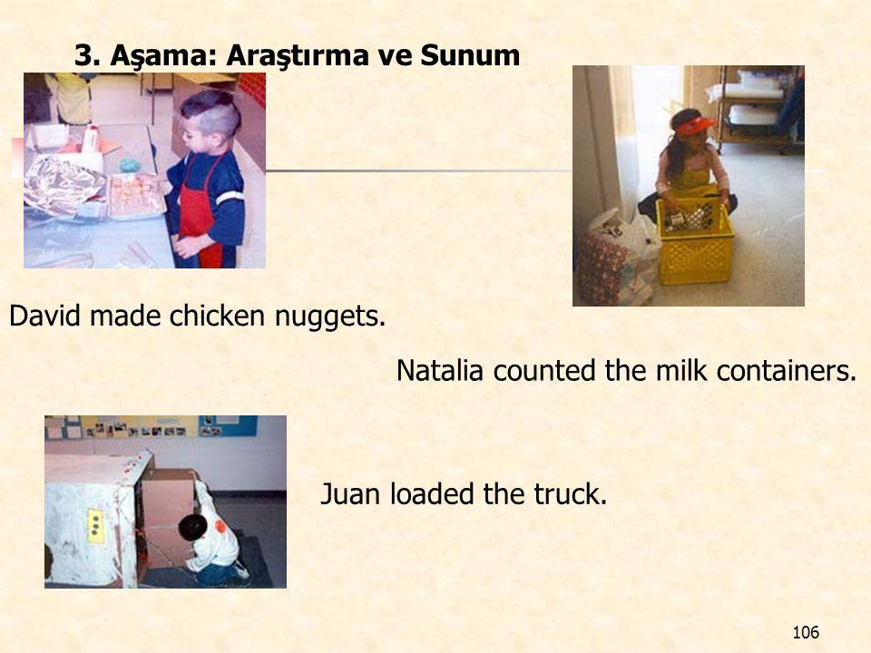 106 3. Aşama: Araştırma ve Sunum David made chicken nuggets. Natalia counted the milk containers. Juan loaded the truck.