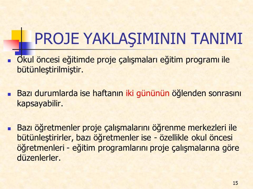 PROJE YAKLAŞIMININ TANIMI Okul öncesi eğitimde proje çalışmaları eğitim programı ile bütünleştirilmiştir.