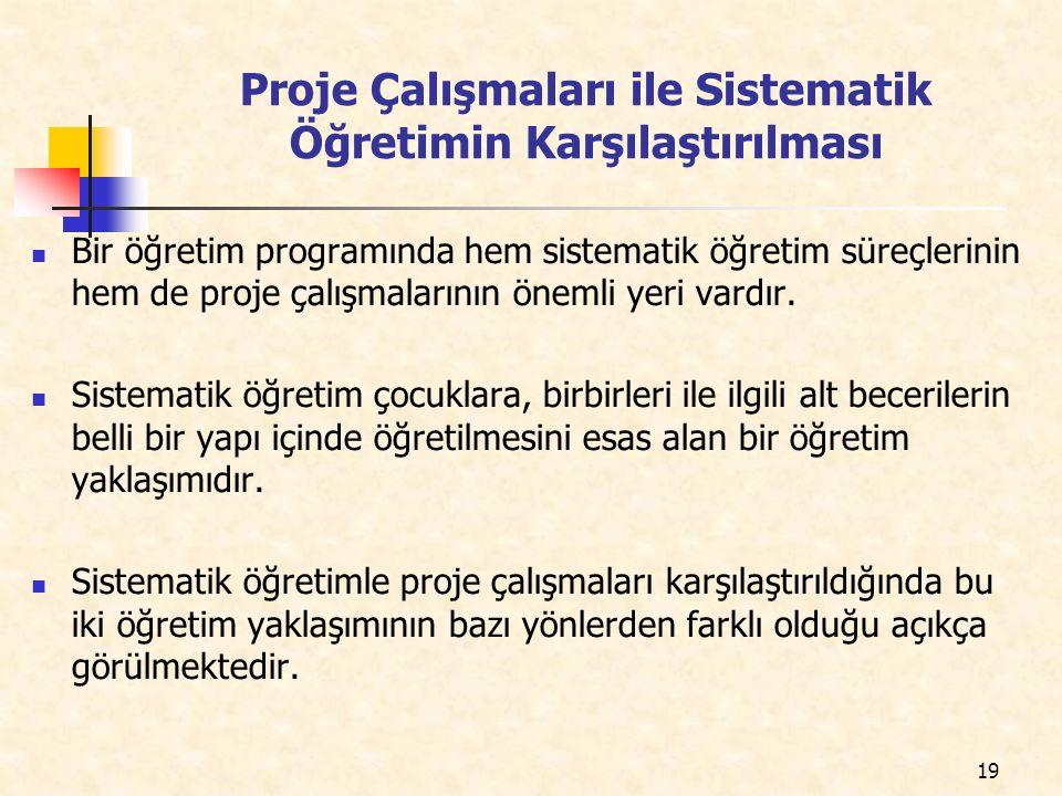 Proje Çalışmaları ile Sistematik Öğretimin Karşılaştırılması Bir öğretim programında hem sistematik öğretim süreçlerinin hem de proje çalışmalarının ö