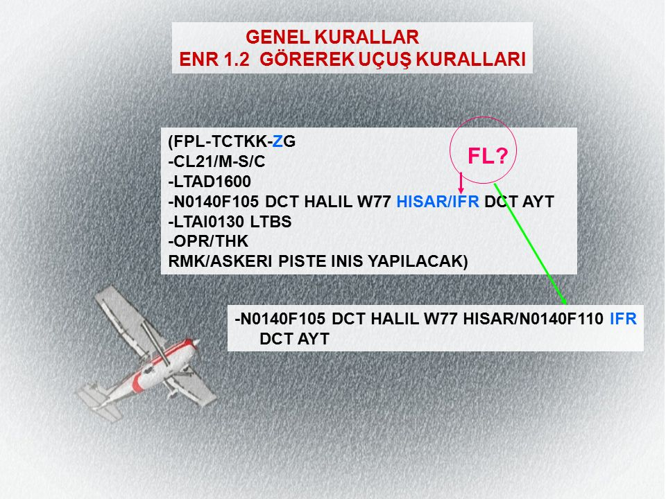 GENEL KURALLAR ENR 1.2 GÖREREK UÇUŞ KURALLARI (FPL-TCTKK-ZG -CL21/M-S/C -LTAD1600 -N0140F105 DCT HALIL W77 HISAR/IFR DCT AYT -LTAI0130 LTBS -OPR/THK RMK/ASKERI PISTE INIS YAPILACAK) FL.