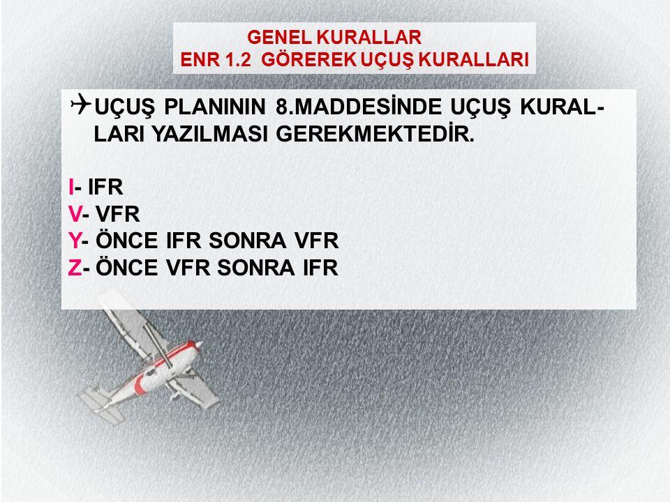 GENEL KURALLAR  Kalkış/İniş meydanlarından biri (ZZZZ) ise Yol hanesine tek koordinat belirtmek yeterlidir (FPL-TEST-VM -B412/M-S/C -ZZZZ1000 -N0200VFR 3700N02715E DCT BDR -LTFE0030 -OPR/TEST DEP/ TURGUTREIS MARINA) (FPL-TEST-VM -B412/M-S/C -LTFE1000 -N0200VFR DCT OKESA DCT 3825N02710E -ZZZZ0130 -OPR/TEST DEST/ HILTON HELIPAD)