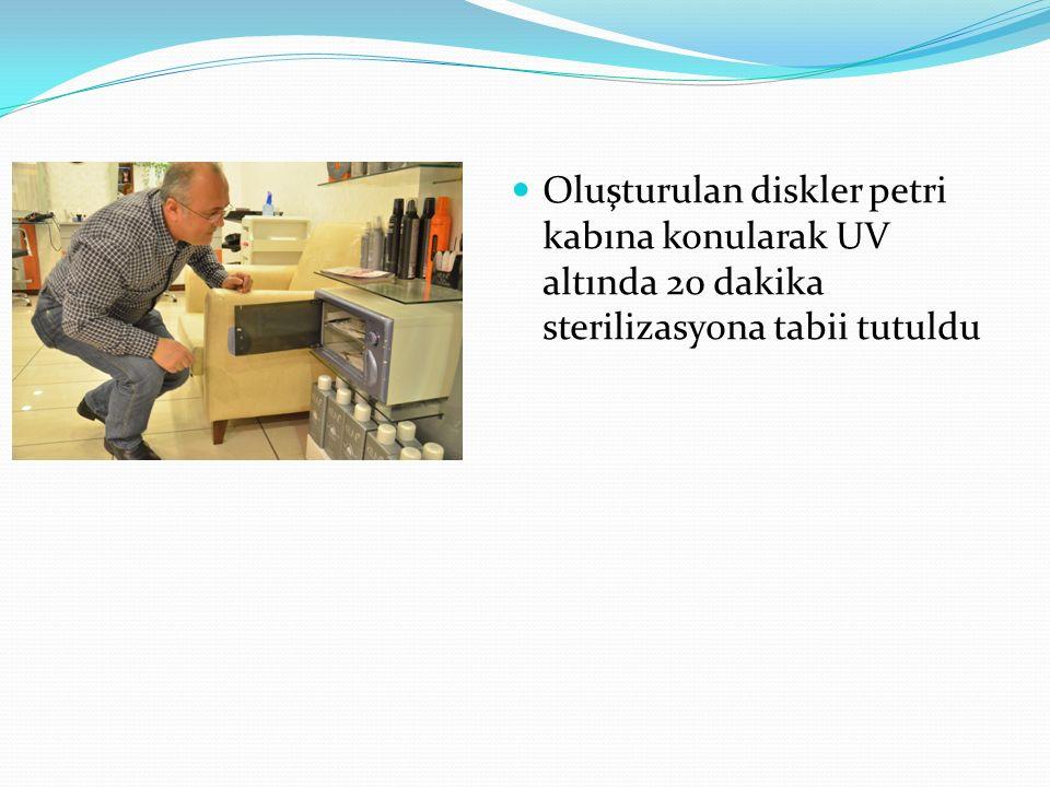 Oluşturulan diskler petri kabına konularak UV altında 20 dakika sterilizasyona tabii tutuldu