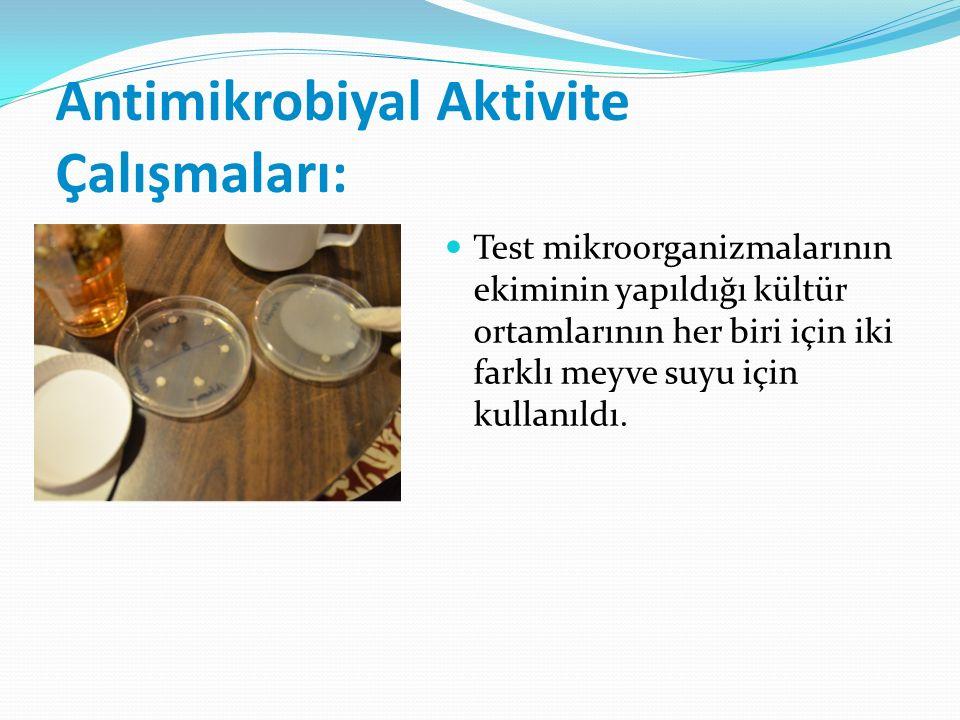 Antimikrobiyal Aktivite Çalışmaları: Test mikroorganizmalarının ekiminin yapıldığı kültür ortamlarının her biri için iki farklı meyve suyu için kullanıldı.