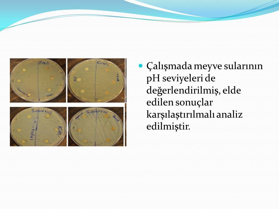 Çalışmada meyve sularının pH seviyeleri de değerlendirilmiş, elde edilen sonuçlar karşılaştırılmalı analiz edilmiştir.