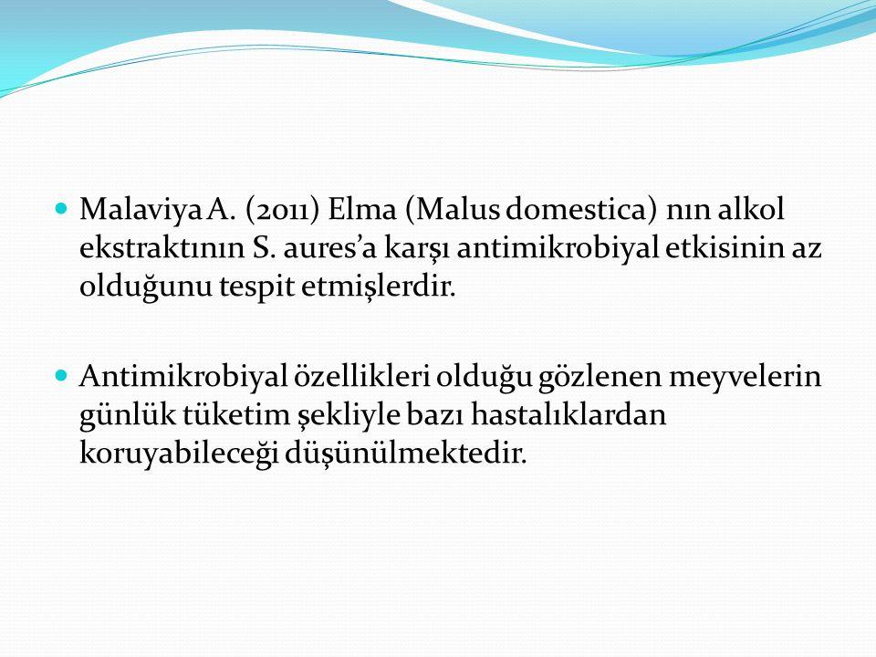 Malaviya A. (2011) Elma (Malus domestica) nın alkol ekstraktının S.