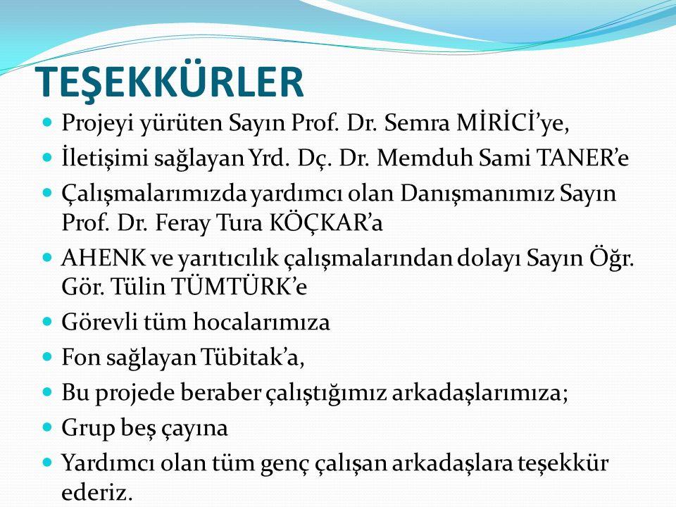TEŞEKKÜRLER Projeyi yürüten Sayın Prof. Dr. Semra MİRİCİ'ye, İletişimi sağlayan Yrd.