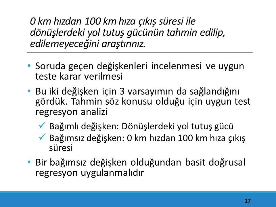 0 km hızdan 100 km hıza çıkış süresi ile dönüşlerdeki yol tutuş gücünün tahmin edilip, edilemeyeceğini araştırınız. Soruda geçen değişkenleri incelenm