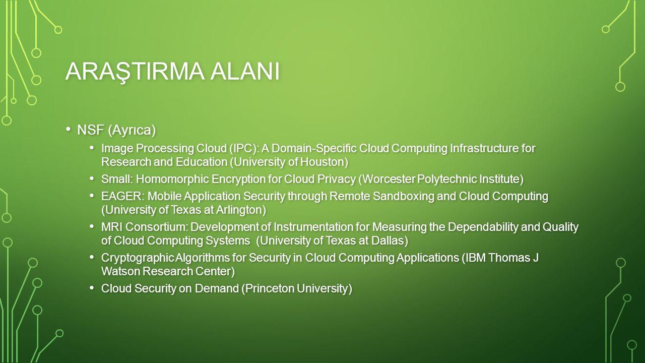 ARAŞTIRMA ALANI NSF (Ayrıca) NSF (Ayrıca) Image Processing Cloud (IPC): A Domain-Specific Cloud Computing Infrastructure for Research and Education (U