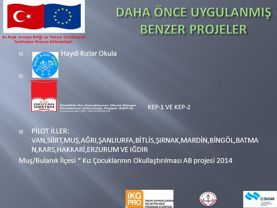  Haydi Kızlar Okula   PİLOT İLLER: VAN,SİİRT,MUŞ,AĞRI,ŞANLIURFA,BİTLİS,ŞIRNAK,MARDİN,BİNGÖL,BATMA N,KARS,HAKKARİ,ERZURUM VE IĞDIR Muş/Bulanık İlçesi Kız Çocuklarının Okullaştırılması AB projesi 2014 KEP-1 VE KEP-2 Bu Proje Avrupa Birliği ve Türkiye Cumhuriyeti Tarafından Finanse Edilmektedir.