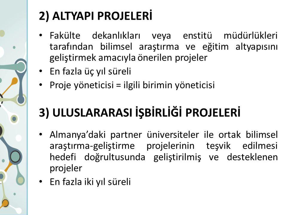 2) ALTYAPI PROJELERİ Fakülte dekanlıkları veya enstitü müdürlükleri tarafından bilimsel araştırma ve eğitim altyapısını geliştirmek amacıyla önerilen