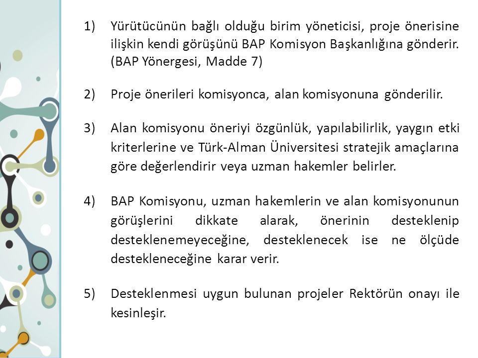 1)Yürütücünün bağlı olduğu birim yöneticisi, proje önerisine ilişkin kendi görüşünü BAP Komisyon Başkanlığına gönderir. (BAP Yönergesi, Madde 7) 2)Pro