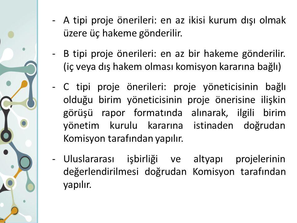 -A tipi proje önerileri: en az ikisi kurum dışı olmak üzere üç hakeme gönderilir. -B tipi proje önerileri: en az bir hakeme gönderilir. (iç veya dış h