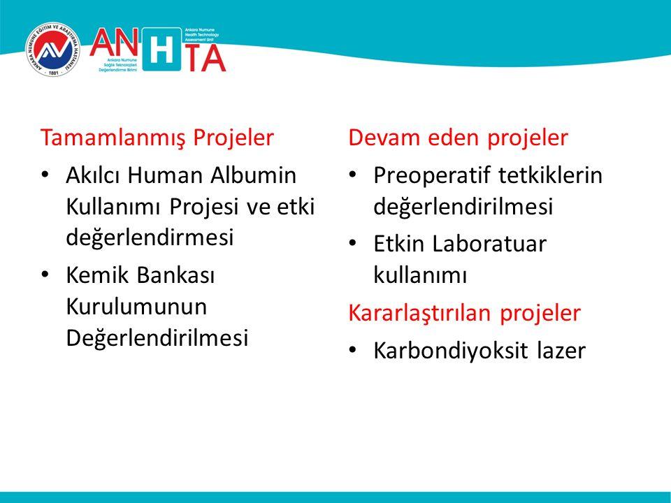 Tamamlanmış Projeler Akılcı Human Albumin Kullanımı Projesi ve etki değerlendirmesi Kemik Bankası Kurulumunun Değerlendirilmesi Devam eden projeler Preoperatif tetkiklerin değerlendirilmesi Etkin Laboratuar kullanımı Kararlaştırılan projeler Karbondiyoksit lazer