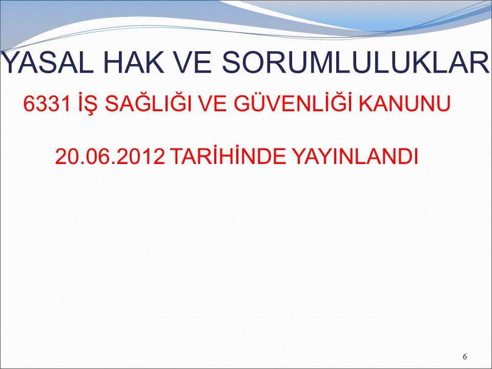 6331 İŞ SAĞLIĞI VE GÜVENLİĞİ KANUNU 20.06.2012 TARİHİNDE YAYINLANDI YASAL HAK VE SORUMLULUKLAR 6