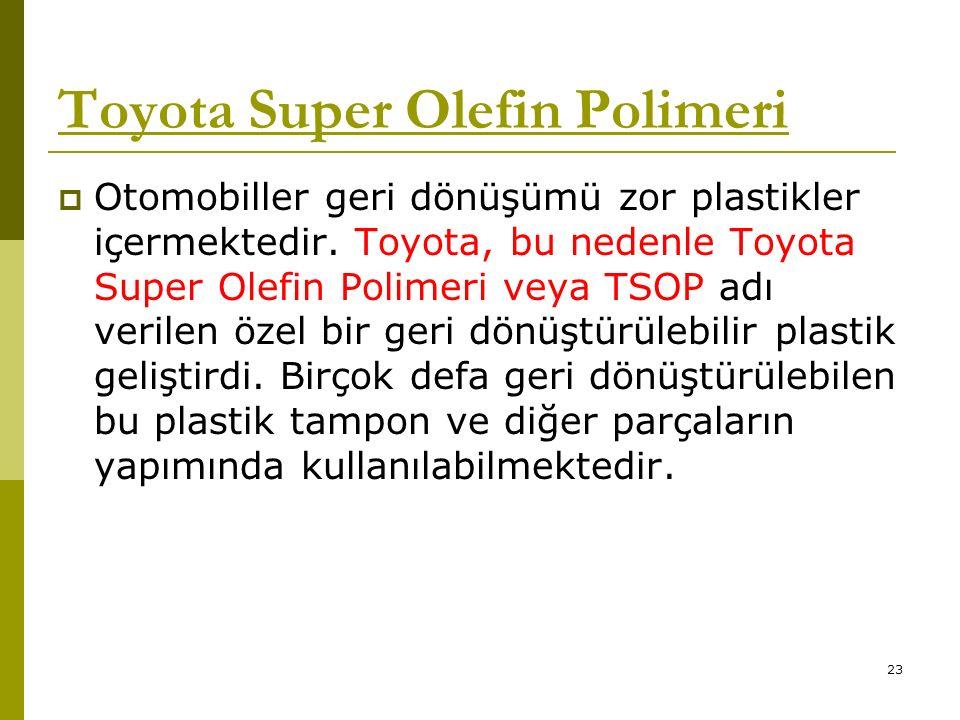 Toyota Super Olefin Polimeri  Otomobiller geri dönüşümü zor plastikler içermektedir.