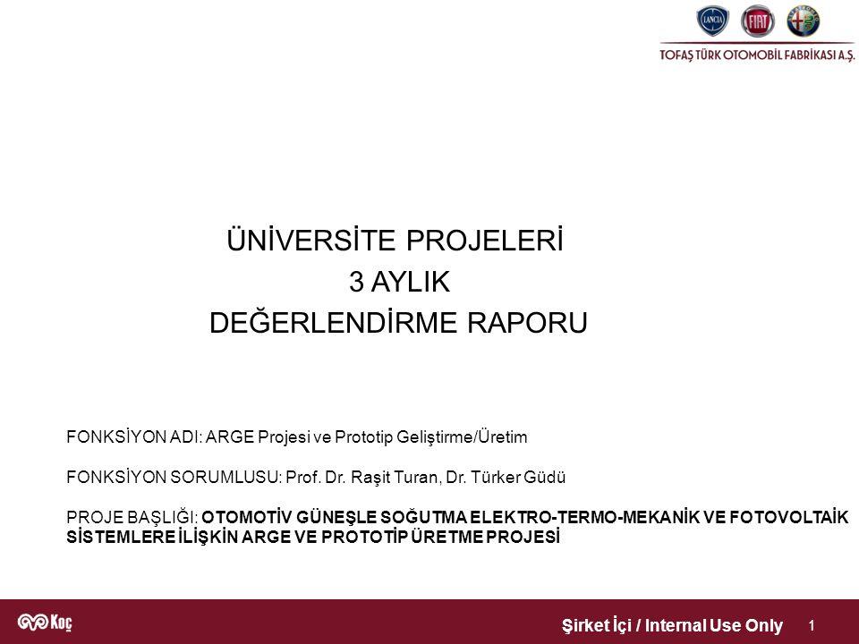 Şirket İçi / Internal Use Only 1 FONKSİYON ADI: ARGE Projesi ve Prototip Geliştirme/Üretim FONKSİYON SORUMLUSU: Prof.