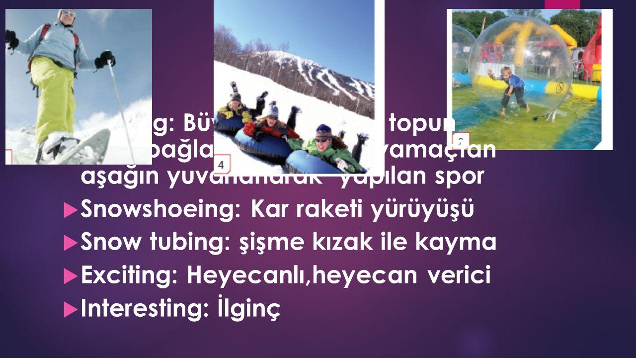  Zorbing: Büyük bir plastik topun içine bağlanıp eğimli bir yamaçtan aşağın yuvarlanarak yapılan spor  Snowshoeing: Kar raketi yürüyüşü  Snow tubing: şişme kızak ile kayma  Exciting: Heyecanlı,heyecan verici  Interesting: İlginç