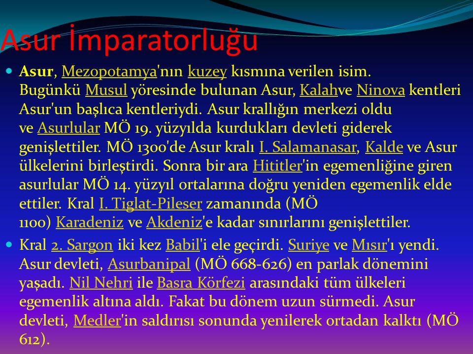 Asur İmparatorluğu Asur, Mezopotamya'nın kuzey kısmına verilen isim. Bugünkü Musul yöresinde bulunan Asur, Kalahve Ninova kentleri Asur'un başlıca ken