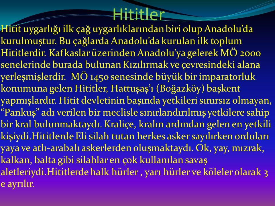 Hititler Hitit uygarlığı ilk çağ uygarlıklarından biri olup Anadolu'da kurulmuştur. Bu çağlarda Anadolu'da kurulan ilk toplum Hititlerdir. Kafkaslar ü