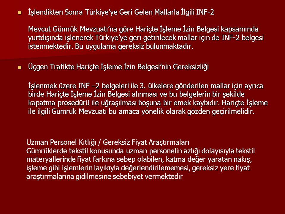 İşlendikten Sonra Türkiye'ye Geri Gelen Mallarla İlgili INF-2 Mevcut Gümrük Mevzuatı'na göre Hariçte İşleme İzin Belgesi kapsamında yurtdışında işlenerek Türkiye'ye geri getirilecek mallar için de INF-2 belgesi istenmektedir.