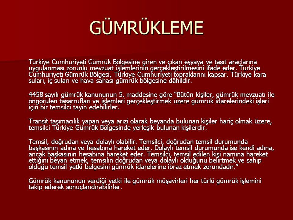 GÜMRÜKLEME Türkiye Cumhuriyeti Gümrük Bölgesine giren ve çıkan eşyaya ve taşıt araçlarına uygulanması zorunlu mevzuat işlemlerinin gerçekleştirilmesini ifade eder.