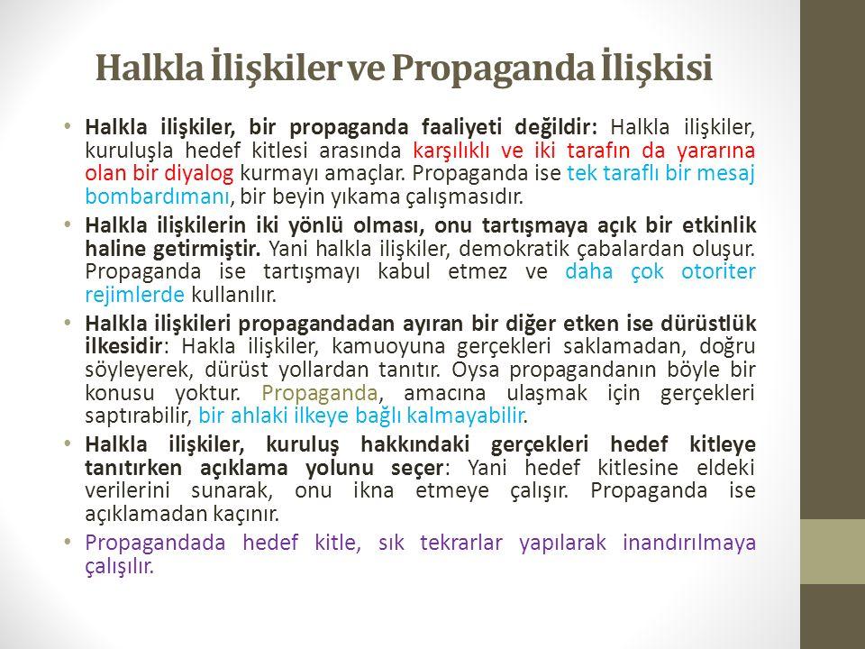 Halkla İlişkiler ve Propaganda İlişkisi Halkla ilişkiler, bir propaganda faaliyeti değildir: Halkla ilişkiler, kuruluşla hedef kitlesi arasında karşılıklı ve iki tarafın da yararına olan bir diyalog kurmayı amaçlar.