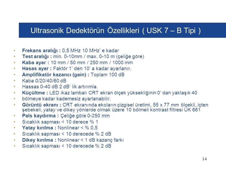 Ultrasonik Dedektörün Özellikleri ( USK 7 – B Tipi ) Frekans aralığı : 0,5 MHz 10 MHz' e kadar Test aralığı : min.