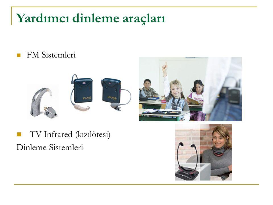 Yardımcı dinleme araçları FM Sistemleri TV Infrared (kızılötesi) Dinleme Sistemleri