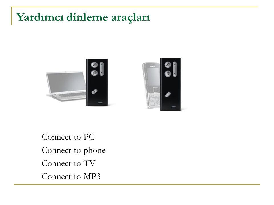 Yardımcı dinleme araçları Connect to PC Connect to phone Connect to TV Connect to MP3