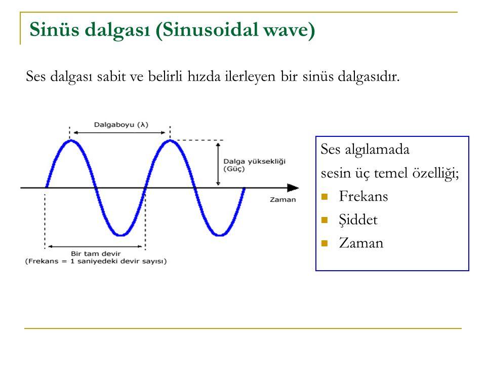 Sinüs dalgası (Sinusoidal wave) Ses dalgası sabit ve belirli hızda ilerleyen bir sinüs dalgasıdır. Ses algılamada sesin üç temel özelliği; Frekans Şid