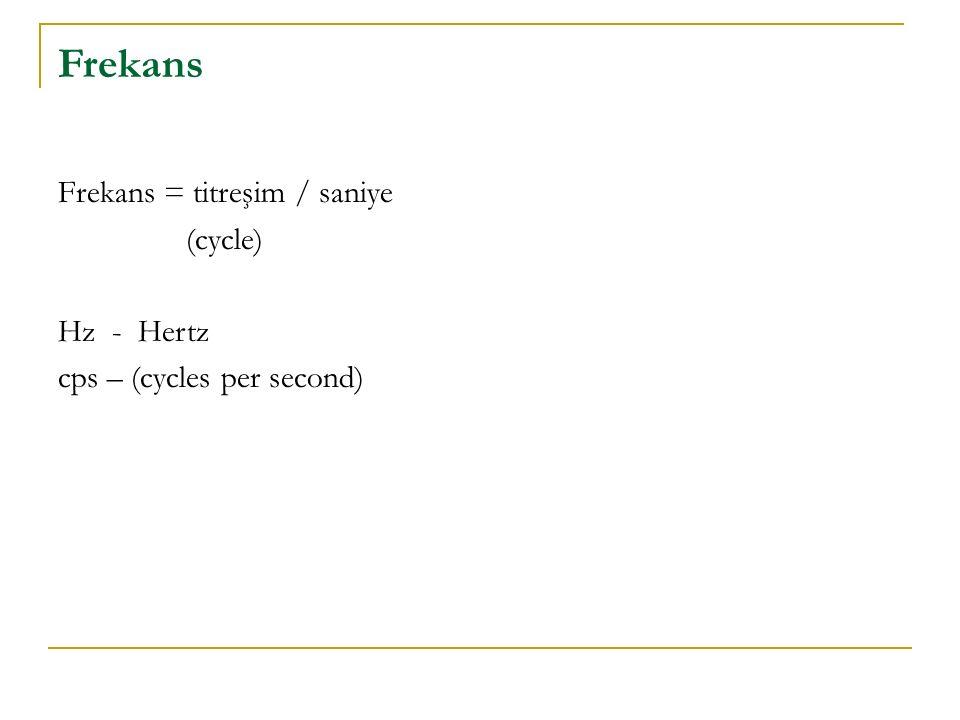 Frekans Frekans = titreşim / saniye (cycle) Hz - Hertz cps – (cycles per second)