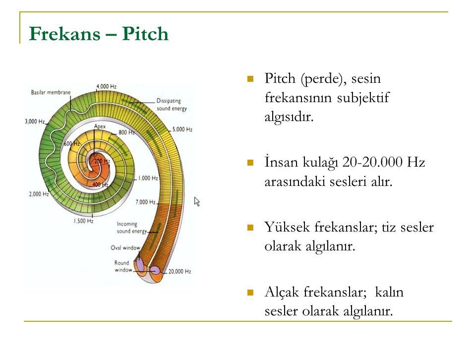 Pitch (perde), sesin frekansının subjektif algısıdır. İnsan kulağı 20-20.000 Hz arasındaki sesleri alır. Yüksek frekanslar; tiz sesler olarak algılanı