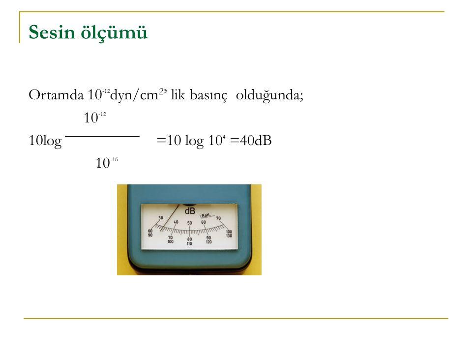 Sesin ölçümü Ortamda 10 -12 dyn/cm 2 ' lik basınç olduğunda; 10 -12 10log =10 log 10 4 =40dB 10 -16