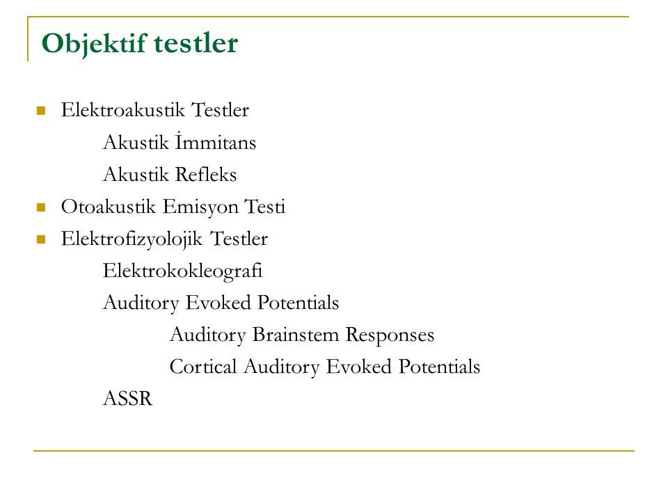 Objektif testler Elektroakustik Testler Akustik İmmitans Akustik Refleks Otoakustik Emisyon Testi Elektrofizyolojik Testler Elektrokokleografi Auditor
