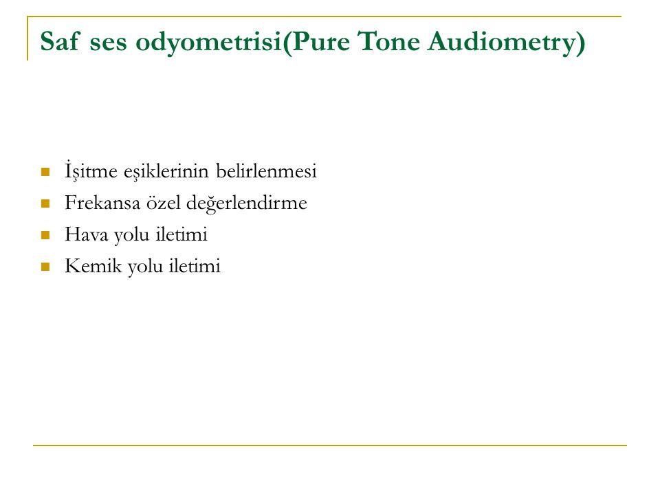 Saf ses odyometrisi(Pure Tone Audiometry) İşitme eşiklerinin belirlenmesi Frekansa özel değerlendirme Hava yolu iletimi Kemik yolu iletimi