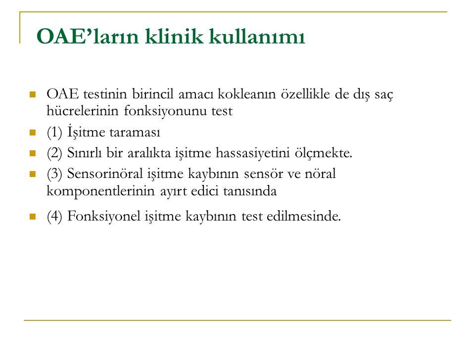 OAE'ların klinik kullanımı OAE testinin birincil amacı kokleanın özellikle de dış saç hücrelerinin fonksiyonunu test (1) İşitme taraması (2) Sınırlı b