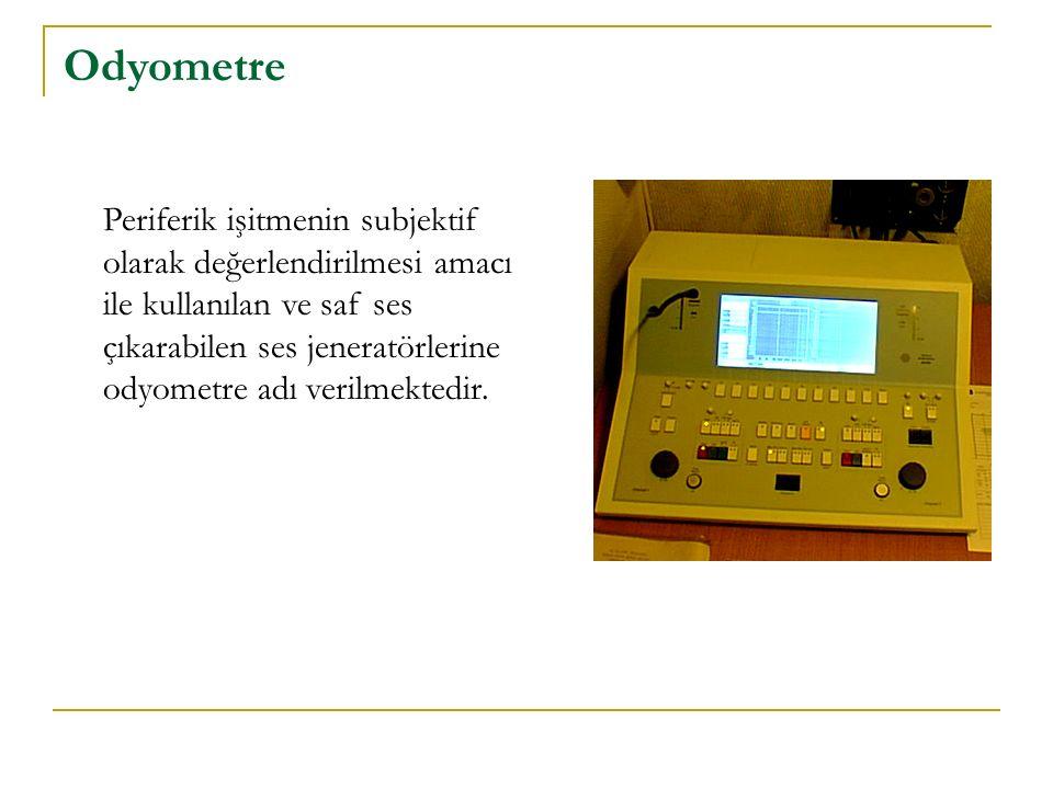 Odyometre Periferik işitmenin subjektif olarak değerlendirilmesi amacı ile kullanılan ve saf ses çıkarabilen ses jeneratörlerine odyometre adı verilme