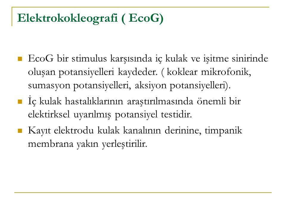 Elektrokokleografi ( EcoG) EcoG bir stimulus karşısında iç kulak ve işitme sinirinde oluşan potansiyelleri kaydeder. ( koklear mikrofonik, sumasyon po