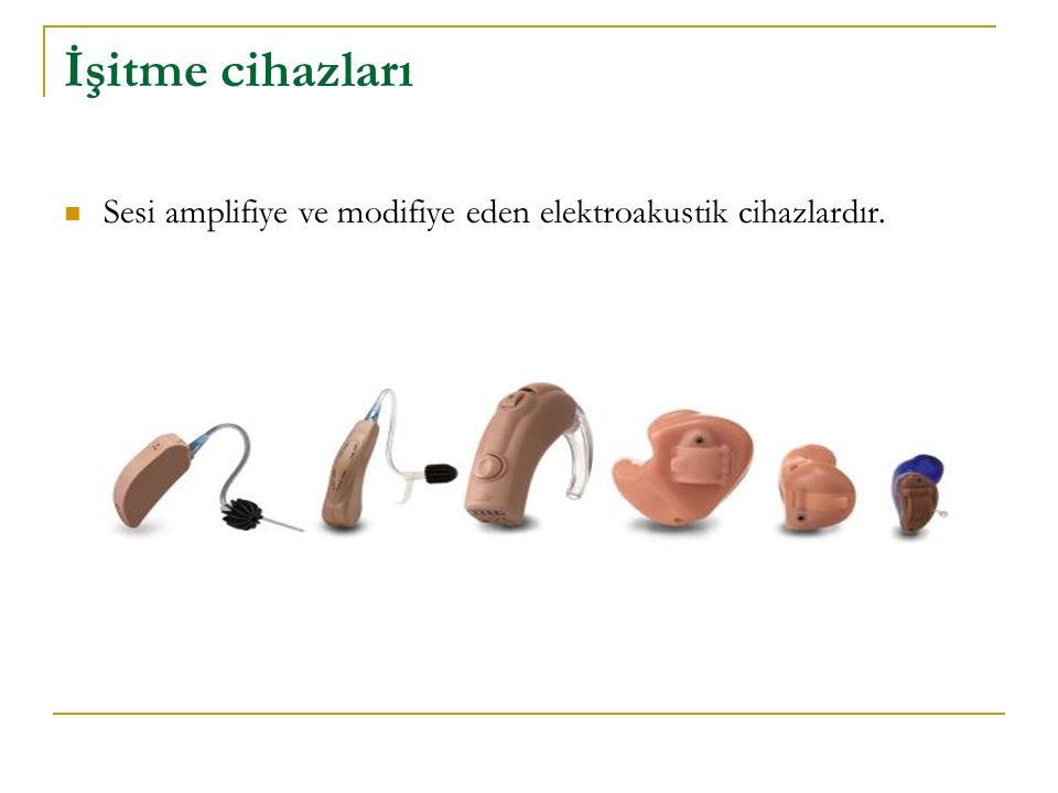 İşitme cihazları Sesi amplifiye ve modifiye eden elektroakustik cihazlardır.