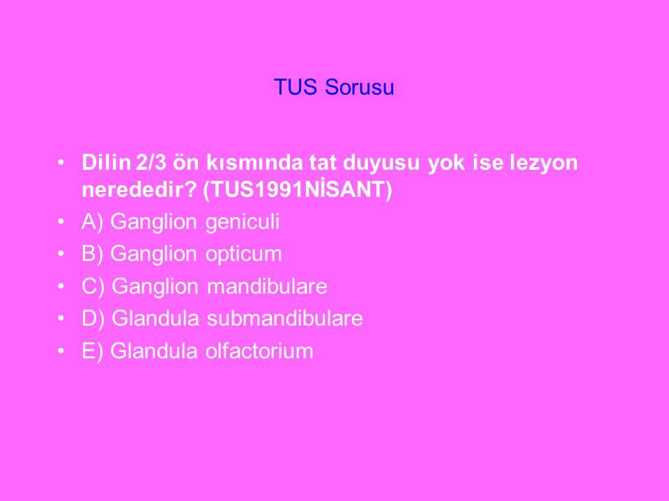 TUS Sorusu Dilin 2/3 ön kısmında tat duyusu yok ise lezyon nerededir? (TUS1991NİSANT) A) Ganglion geniculi B) Ganglion opticum C) Ganglion mandibulare