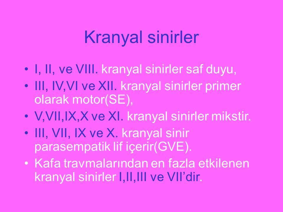 Kranyal sinirler I, II, ve VIII. kranyal sinirler saf duyu, III, IV,VI ve XII. kranyal sinirler primer olarak motor(SE), V,VII,IX,X ve XI. kranyal sin
