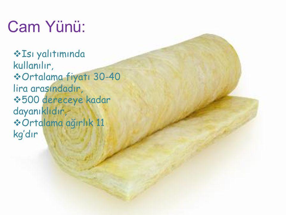 Cam Yünü:  Isı yalıtımında kullanılır,  Ortalama fiyatı 30-40 lira arasındadır,  500 dereceye kadar dayanıklıdır,  Ortalama ağırlık 11 kg'dır