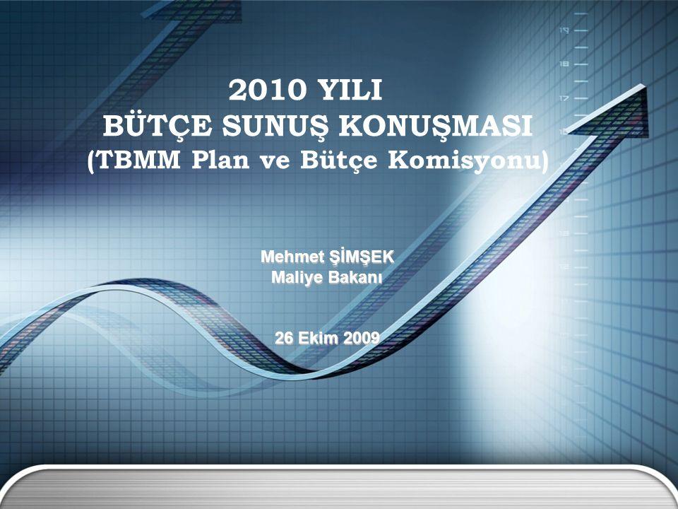 2010 YILI BÜTÇE SUNUŞ KONUŞMASI (TBMM Plan ve Bütçe Komisyonu) Mehmet ŞİMŞEK Maliye Bakanı 26 Ekim 2009