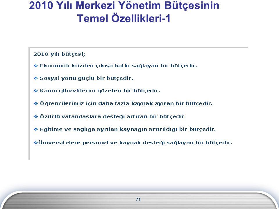 71 2010 Yılı Merkezi Yönetim Bütçesinin Temel Özellikleri-1 71